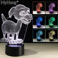 Mooie 3D Little Hond Slaapkamer Tafellamp Touch Knoppen Leuke Led Acryl Vision Nachtlampje Romantische Lamp USB Wisselaar