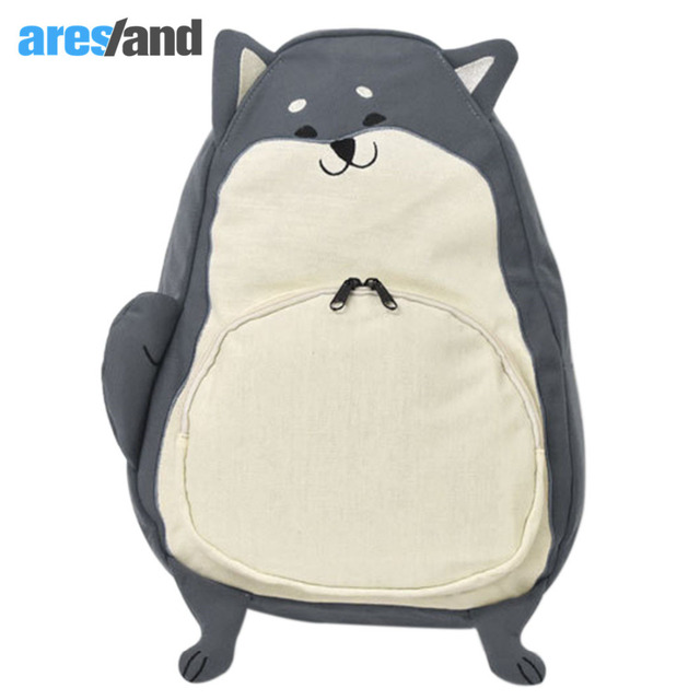 Aresland bkacpack lona para adolescentes meninas dos desenhos animados anime backpack bonito shiba inu ombros saco saco de escola para meninas grande espaço