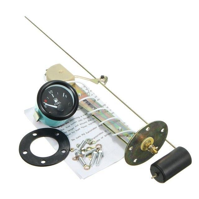 6Pcs 12V 52mm /2 Inch Car Fuel Level Gauge Meter & Fuel Sensor E-1/2-F Indicator White Light