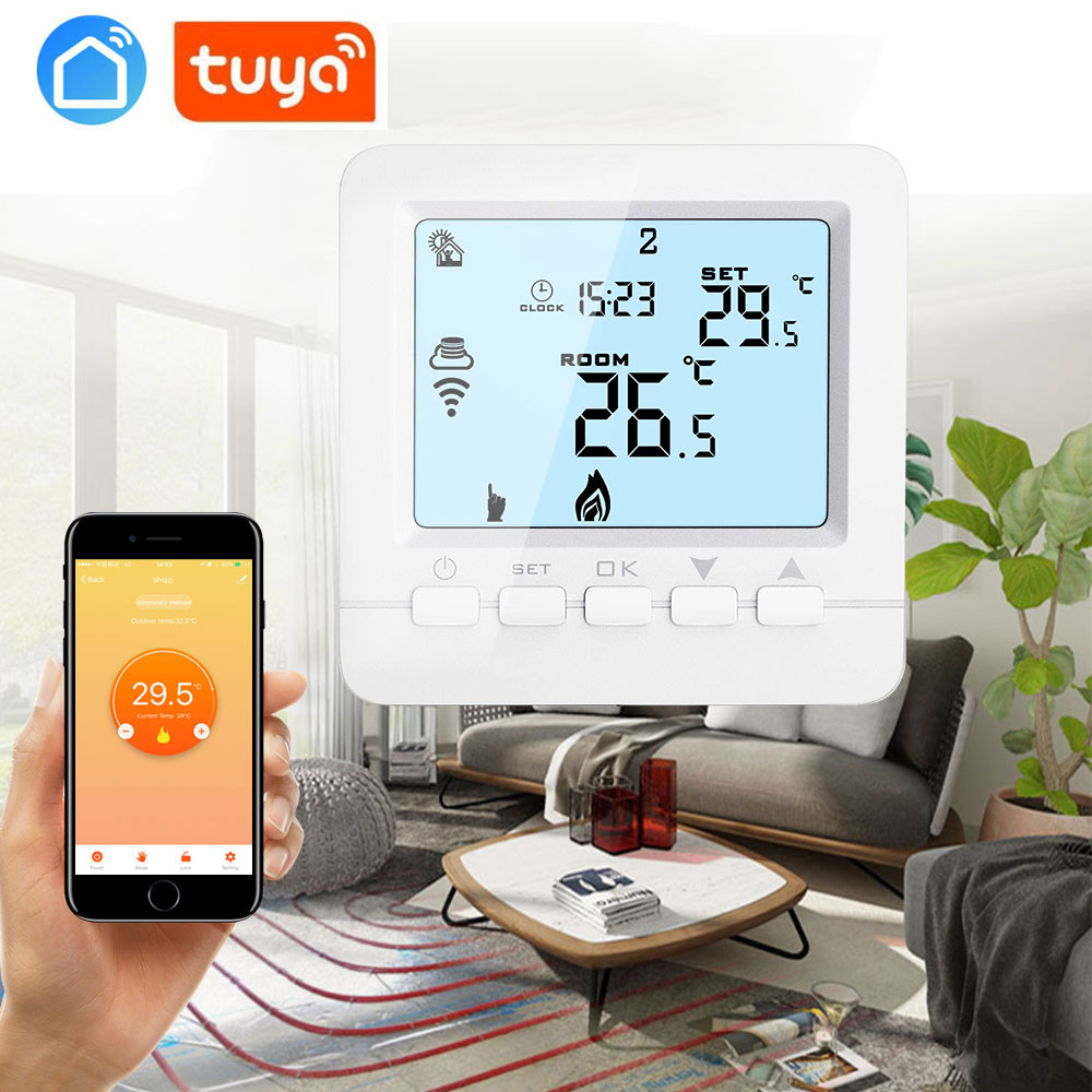 Tuya Remote Control Weekly Programmable Wifi Room Temperature Controller For Water Heating / Thermostatic Control Valve