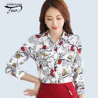 2017 New Spring And Autumn Printed Chiffon Blouse Shirt Female Long Sleeved Spring All Match Shirt