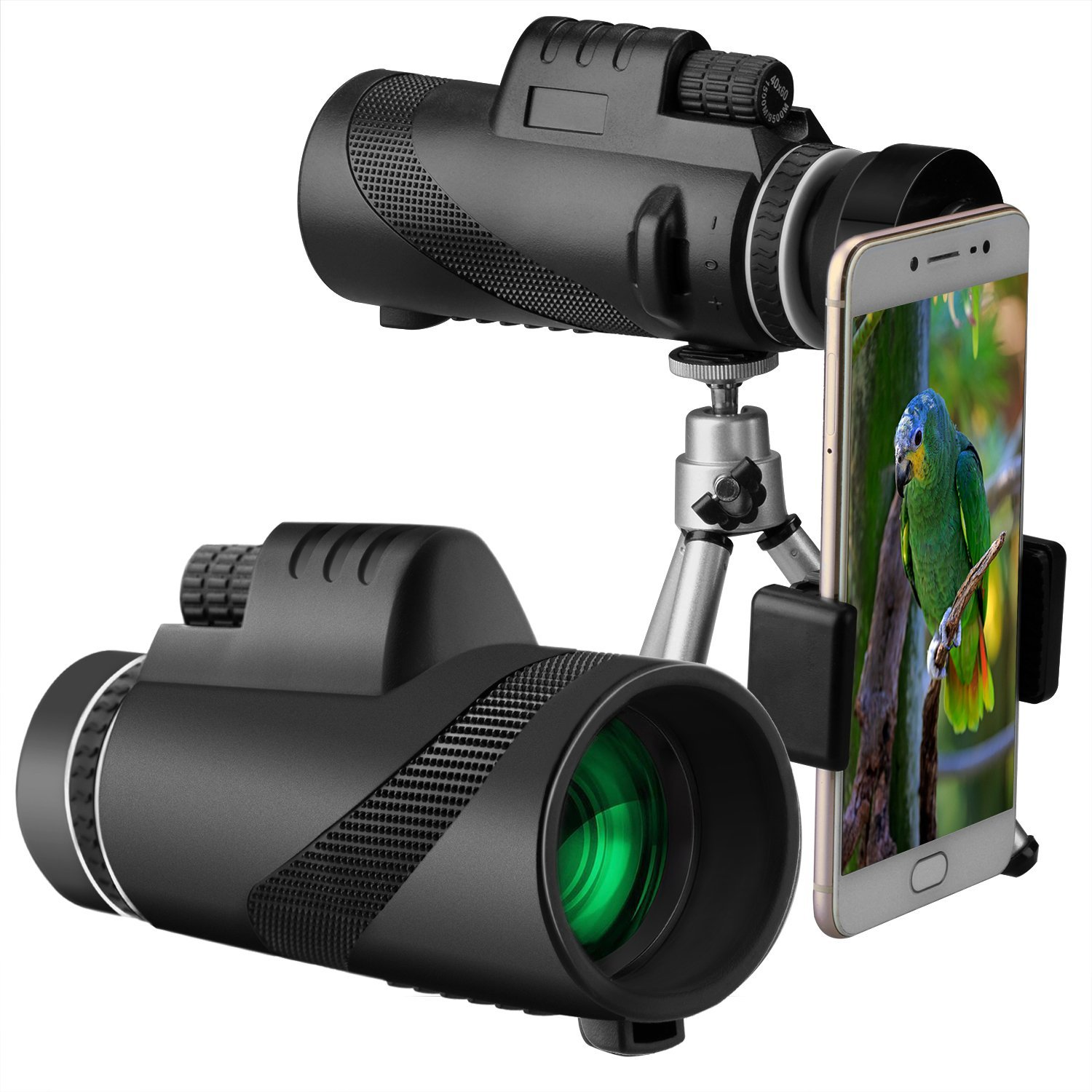 40X60 HD Monocular Telescope +Phone Adapter Waterproof Hunting Nitrogen Travel Camping Hiking Telescope Camping equipment RKOO33