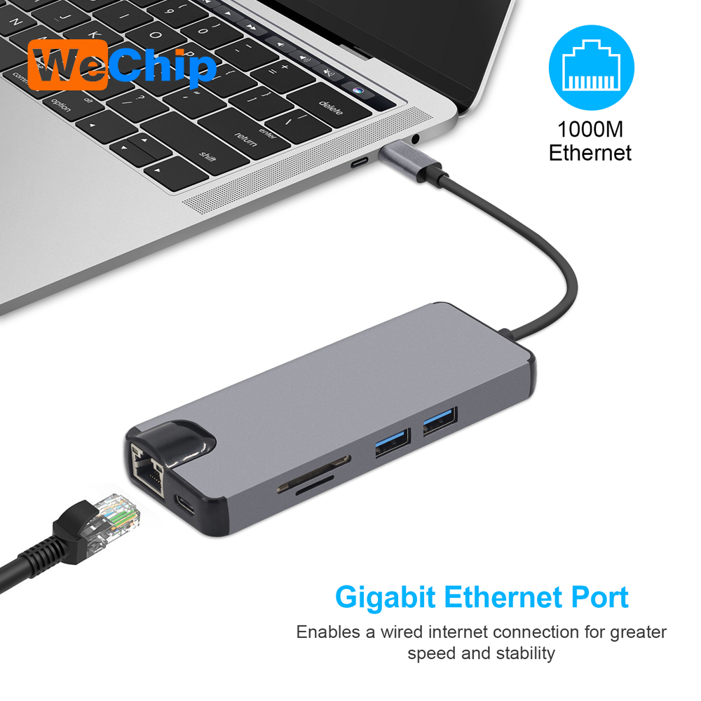 8 in 1 USB Type C to HDMI 4K Video RJ45 Gigabit Ethernet VGA Adapter USB-C hub SD TF Card Reader for Macbook Pro Huawei MateBook