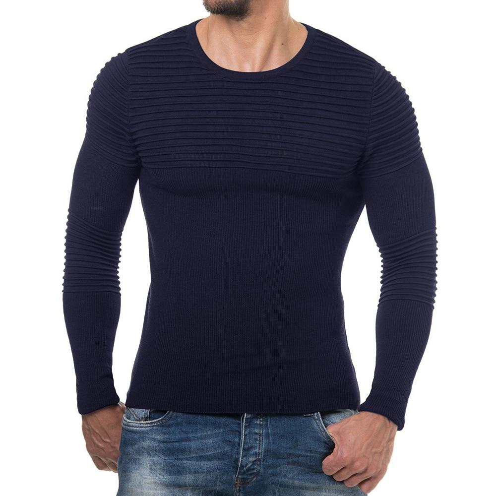 4c784601a6b60 Мужской свитер 2019 Новый повседневный мужской модный тренд с О-образным  вырезом приталенный вязаный свитер мужские пуловеры brand Мужская бре.