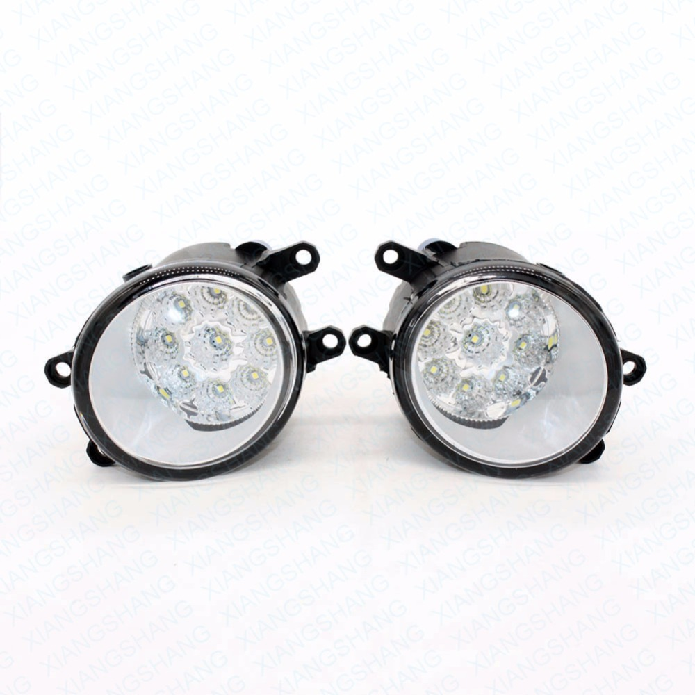 2pcs Car Styling Round Front Bumper LED Fog Lights High Brightness DRL Day Driving Bulb Fog Lamps  For TOYOTA Hiace 2006-2012 led front fog lights for lexus rx450h 2010 2014 car styling round bumper high brightness drl day driving bulb fog lamps