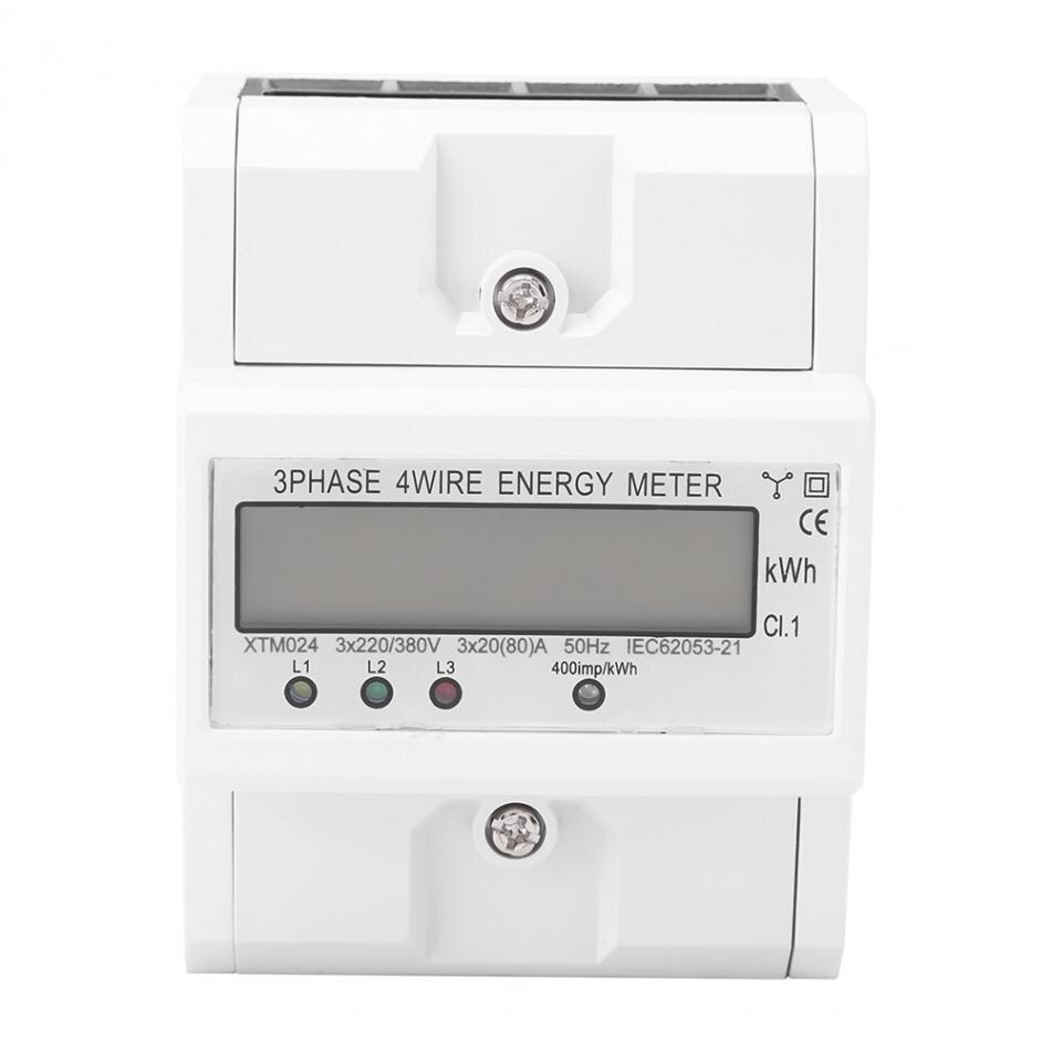 Compteur d'énergie électronique 3 phases affichage LCD numérique à quatre fils Type monophasé Maters DIN-Rail KWh 3x20 (80A)
