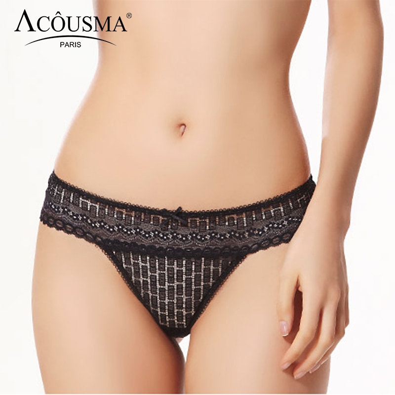 ACOUSMA Women T Back Thongs Floral Lace Hollow Out Bowknot Sexy   Panties   Female G-String Comfortable Underwear Seamless Soft