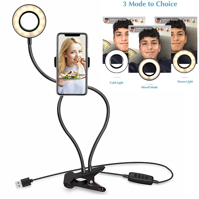 Novelty Photo Studio Selfie LED Ring Light Clamp Lamp For Youtube Live Stream Makeup Camera Lamp With Cell Phone Mobile Holder