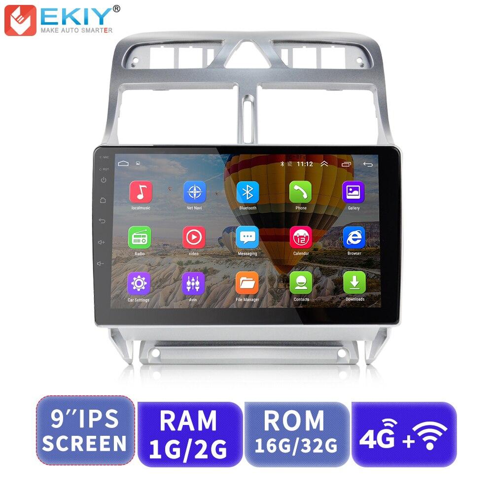 EKIY 9 ''IPS 2.5D lecteur multimédia de voiture Android AutoRadio stéréo Audio pour Peugeot 307 2004-2013 avec Modem 4G GPS Navigation