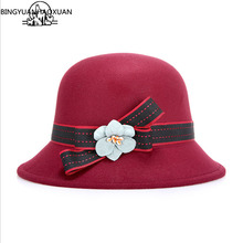 BINGYUANHAOXUAN Brand Fedora Flower Fashion Colorful Women Solid smelled Melon and Derby Wool Hat Lady Round Cap Sunproof