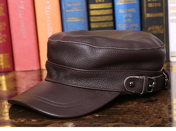 Outdoor natural leather cap (8)