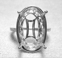 10x15mm Oval Fashion Engagement Wedding Semi Mount Diamond Ring 14K White Gold
