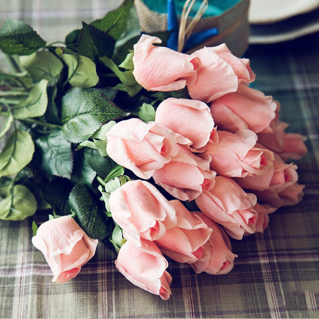 1pc Fresh Rose Artificial Flowers Real Touch PU Rose Flowers Home Decor For Wedding Party or Birthday Girls Valentines Day Gift