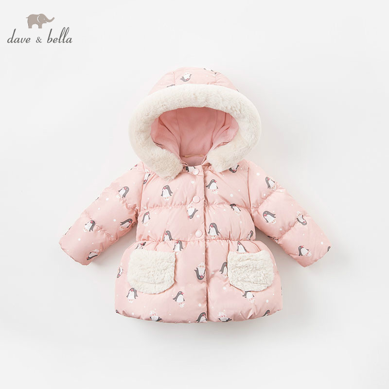 DBM9202 dave bella girls down jacket baby winter penguin print lolita down coat children hooded outerwear kids boutique coat dkny park slope ny2464