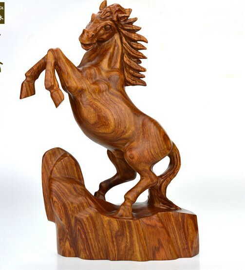 Popular Lucky Red Trojan horse carved wooden horse Madaochenggong feng  IC15