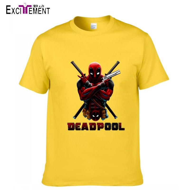 6 Colors Hot Fashion Men's Summer Anime Print Short Sleeve T-shirt Tops Combed Cotton Deadpool Printed T-shirt High Quality