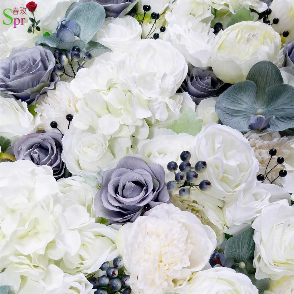 SPR high quality 3D flower wall panels with artificial berry orchids wedding backdrop artificial rose flower