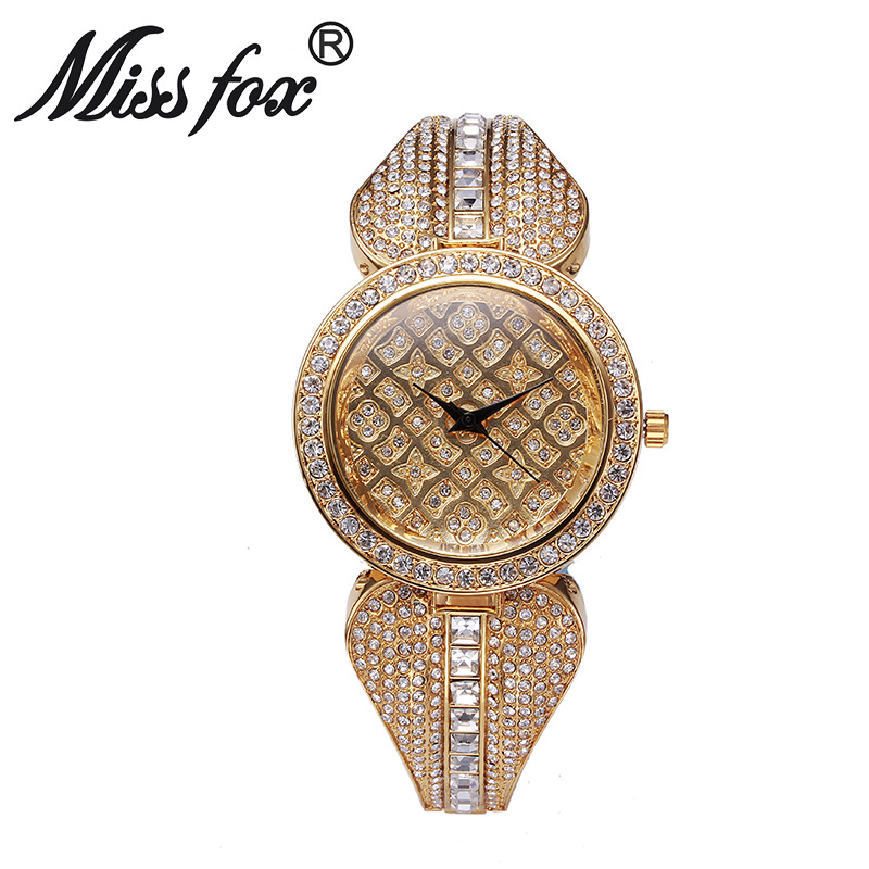 Miss Fox Brand Top Luxury Rhinestone <font><b>Watch</b></font> Women Gold Bracelets <font><b>Bu</b></font> Imported-China Quartz <font><b>watches</b></font> relojes mujer image