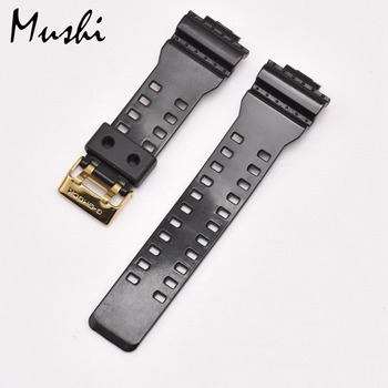 48d0e9ad4401 16mm goma correas hombres negro Sport buceo reloj de silicona Correa banda  hebilla de Metal para reloj G-SHOCK Accesorios
