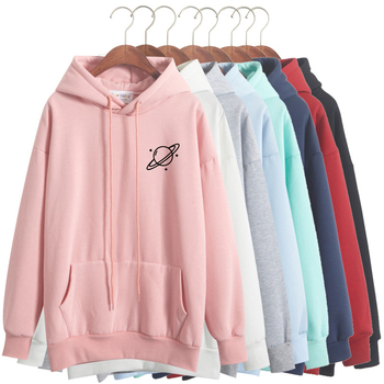 DOMI 2018 new autumn and winter thick loose fleece printing Saturn hoodie Korean simple solid color women star Sweatshirt sweatshirt