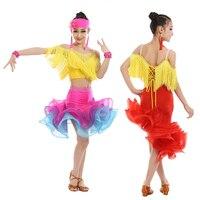 Дети Профессиональный Костюмы для латиноамериканских танцев Танцы платье Обувь для девочек Костюмы для бальных танцев танцевальный конку...