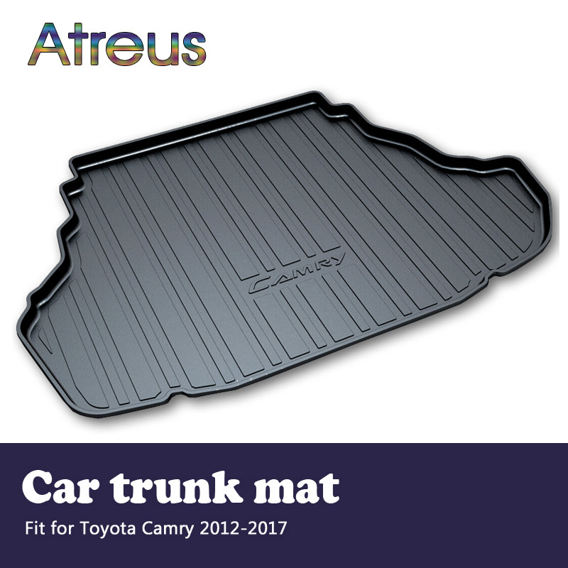 Atreus Car Rear Trunk Floor Mat Durable Carpet For Toyota Camry XV50 2012-2017 Boot Liner Tray Waterproof Anti-slip mat atreus car rear trunk floor mat durable carpet for toyota corolla e140 e150 2007 2013 boot liner tray waterproof anti slip mat