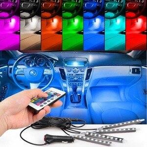 Image 1 - 4 pcs/et 7 צבע LED רכב פנים תאורה ערכת רכב סטיילינג פנים קישוט אווירת אור ואלחוטי מרחוק שליטה