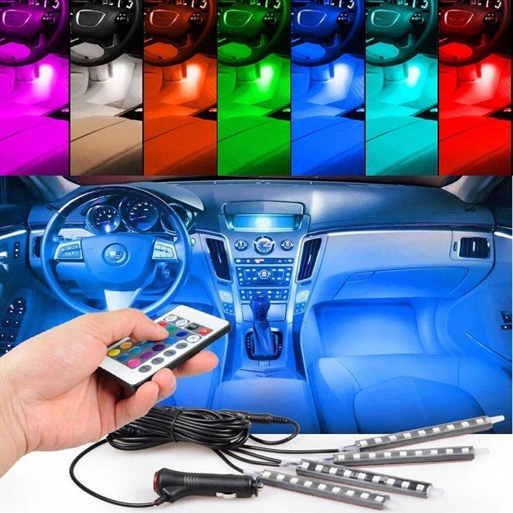 4 unids/et 7 Color LED Kit de Iluminación Interior Del Coche coche que labra la decoración ambiente luminoso y Control Remoto Inalámbrico Control