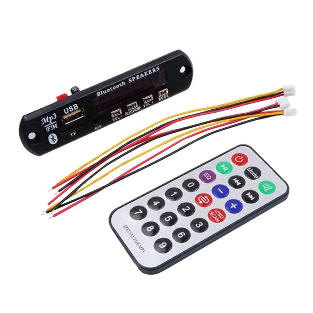 Altoparlante Bluetooth 5 V 12 V MP3 WMA Scheda di Decodifica Audio Modulo USB TF Radio Remote Control Per Autoradio Accessori Nero colore