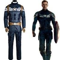 Капитан Америка: зимний солдат Стив Костюм Капитана Америка супергероя Роджерс Косплэй взрослых Для мужчин полный набор для Хэллоуина