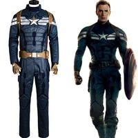 Captain America 2 The Winter Soldier Steve Rogers Uniform Outfit For Adult Men Haloween Movie Cosplay