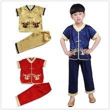 Chińskie tradycyjne Kungfu garnitur dla dzieci Tang ubrania zestaw haft smok Boys Baby Cardigan Tee spodni nowy rok kostiumy