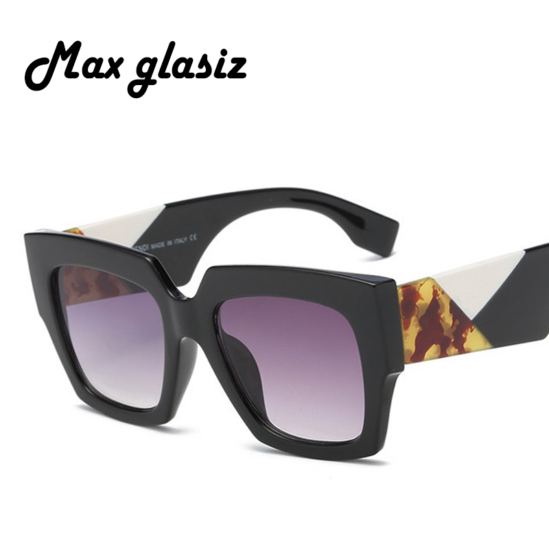 Max glasiz Fashion Brand Designer Square Sunglasses Women Men Plastic Vintage Sun Glasses UV400 Shades  Gafas