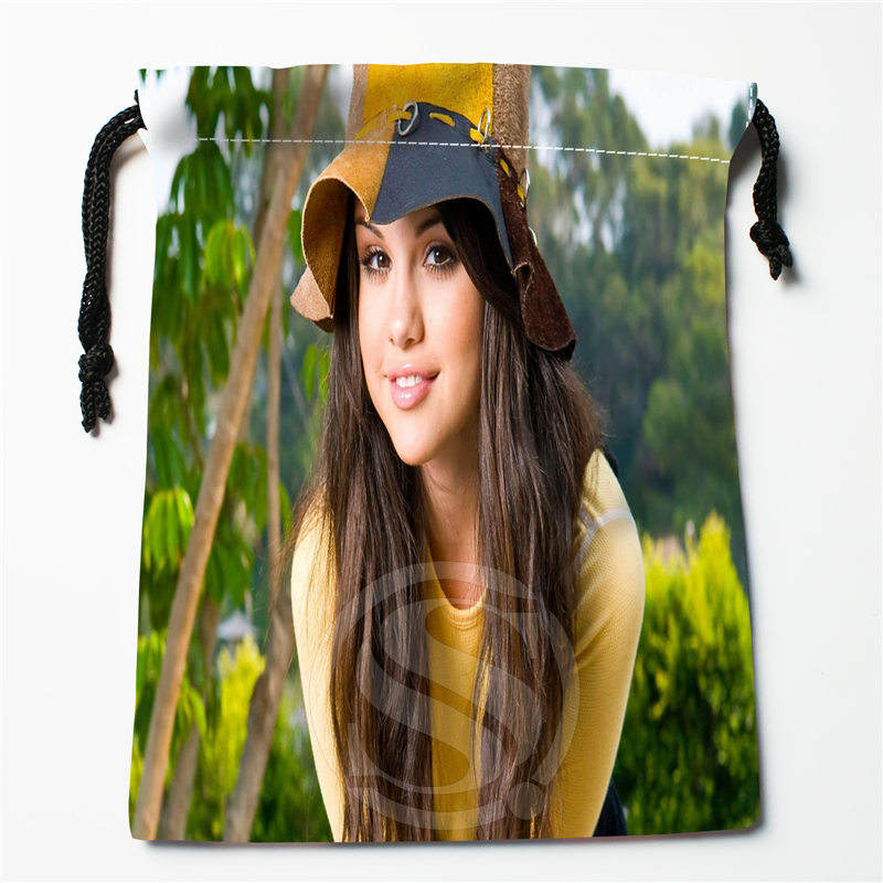 T&w130 New Selena Gomez &m Custom Printed  Receive Bag Compression Type Drawstring Bags Size 18X22cm F725&T130as