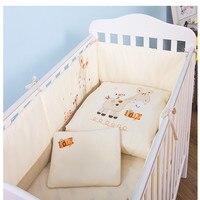 Высокое качество 7 шт. Детские Постельное белье новорожденных мультфильм кроватка постельные принадлежности комплект Съемная Стёганое Оде