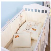 High quality 7Pcs Baby Bedding Set Newborn Infant Cartoon Crib Bedding Kit Detachable Quilt Pillow