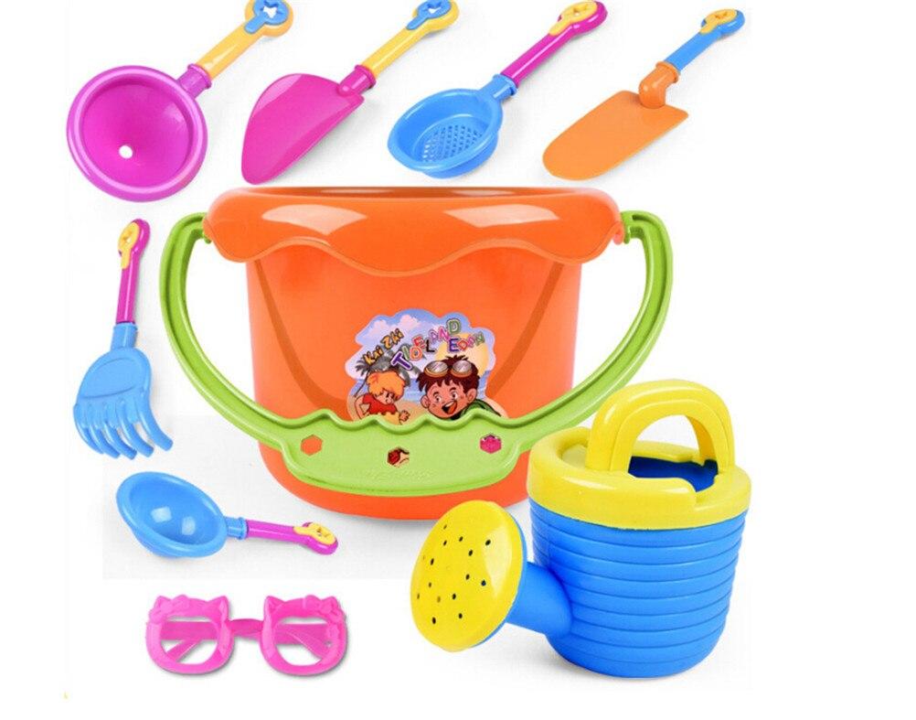 9Pcs Kids Sand Playing Tool Beach Toys Set Summer Plastic Outdoor Beach Bucket Shovel Sunglasses Tools Gift For Kids Hot New