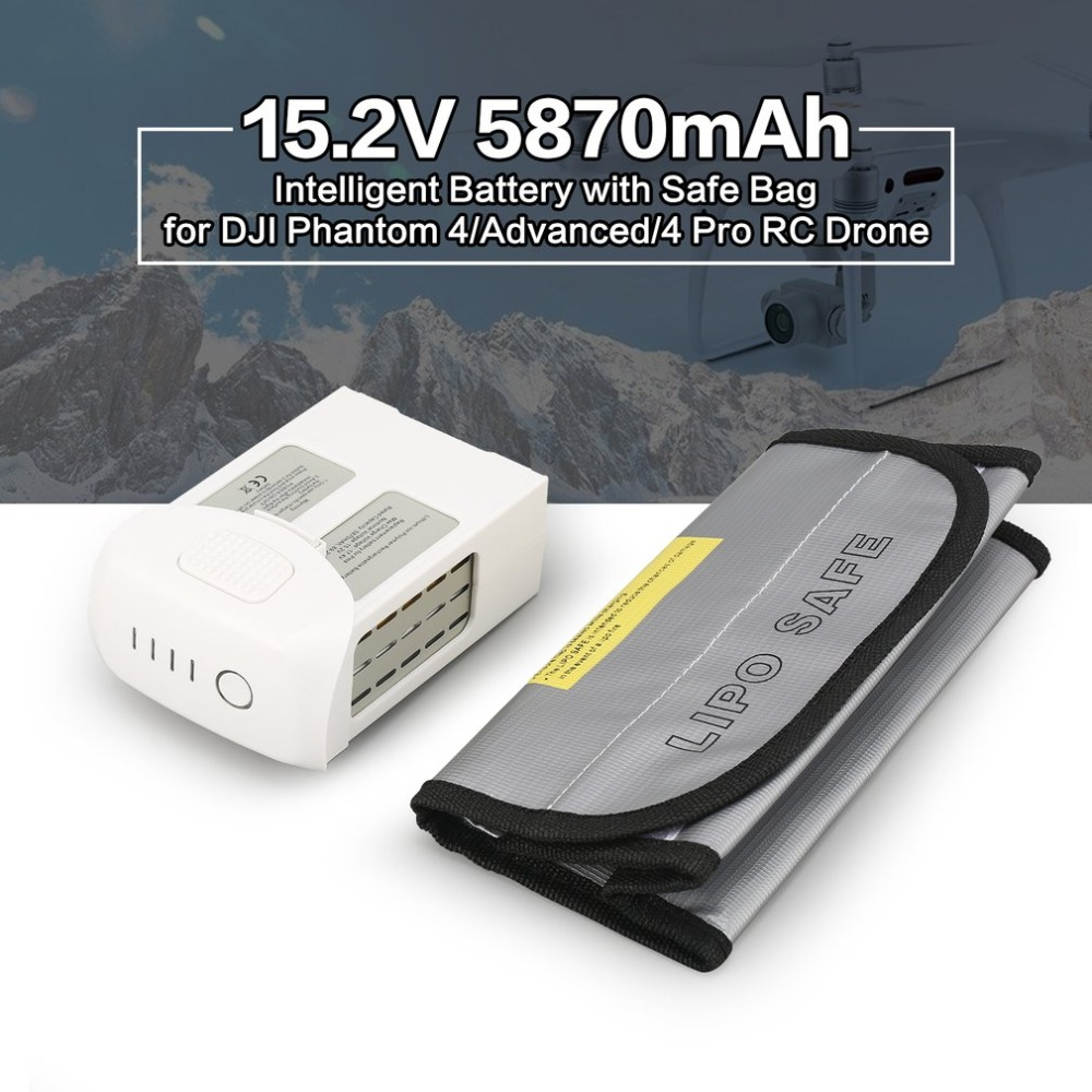 15.2V 5870mAh Intelligent Spare Flight LiPo Battery Replacement with Safe Bag for DJI Phantom 4/ Advanced/4 Pro FPV RC Drone new brand phantom 4 battery li po 4s 5870mah 15 2v intelligent flight max 30 min for dji phantom 4 4 pro advanced drone