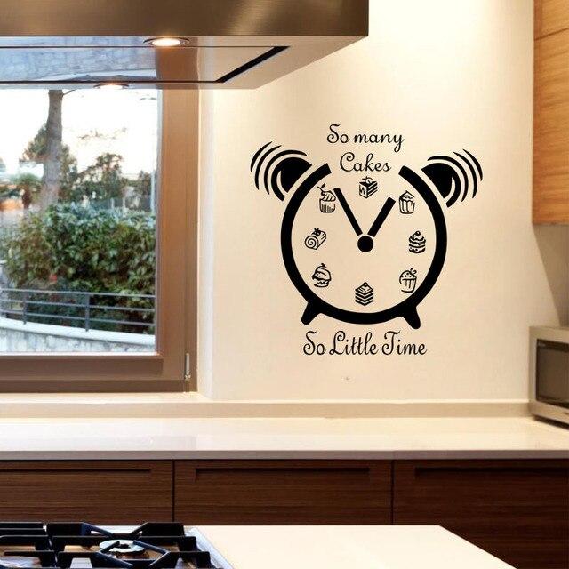 US $6.04 23% di SCONTO|Tanti Torte So Little Time Wall Stickers Orologio  Stencil Per Le Pareti Del Vinile Decalcomanie Camera Da Letto Cucina ...