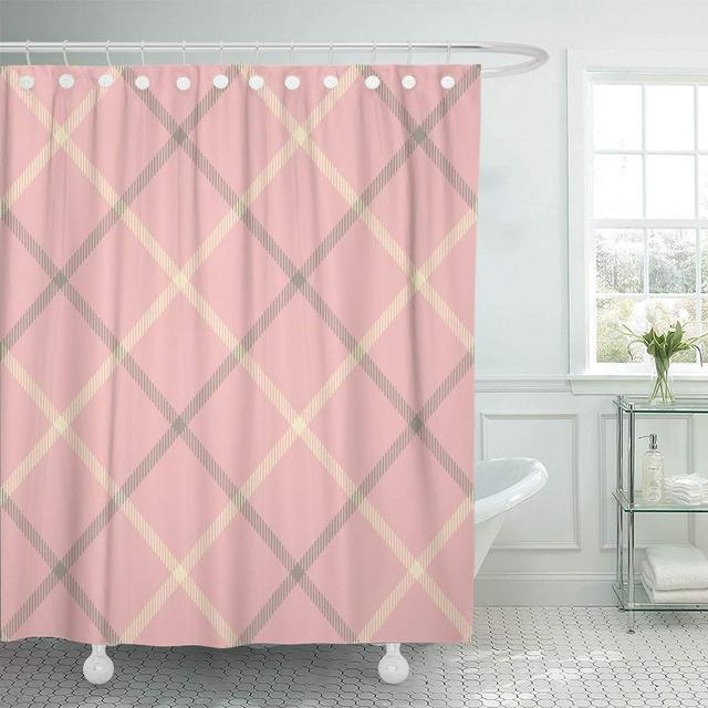 Shower Curtains Pink And Brown.Fabric Shower Curtain With Hooks Pink Grey Tartan Pattern Brown