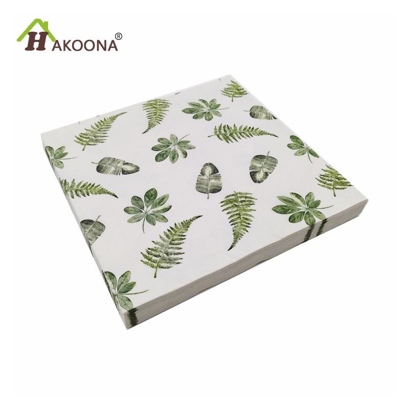 HAKOONA Decoupage Paper Napkins Forest Palm Leaf Green Paper