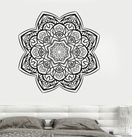 Classic Vintage Yoga Mandala Om Indian Buddha Symbol Mehndi Wall Decal Home Decor Wall Sticker Flower