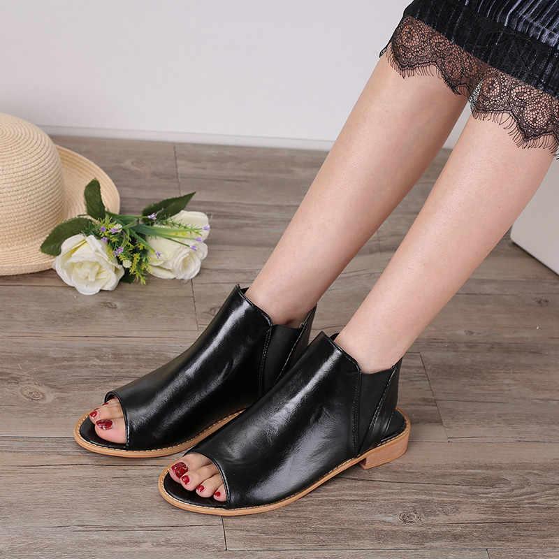 COOTELILI Yaz Ayakkabı Kadın Düz Sandalet Kadın Bayanlar Sandalet Açık Ayak Kadın Oxfords Kayma yarım çizmeler kadın