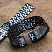 Stainless steel Watchband solid links metal strap butterfly buckle silver black width 14mm 16mm 18mm 20mm