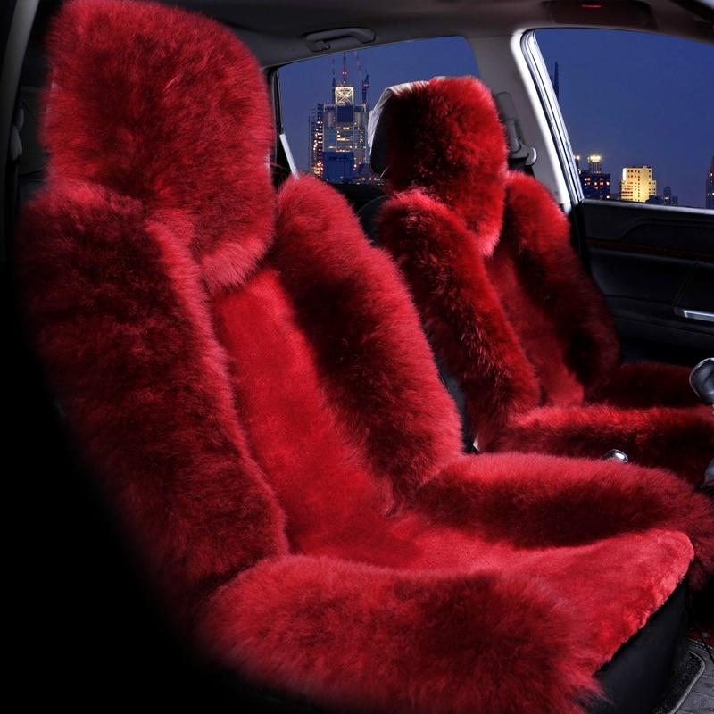 Wool Car Seat Cover Winter Warm Automobiles Seat Cushion Natural Fur Australian Sheepskin Auto Seats Cover Cars Fur Accessories-in Automobiles Seat Covers from Automobiles & Motorcycles