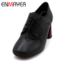 ENMAYER High Heel Shoes Woman Spring Outside Platform Shoes Lace up Lady Casual Shoes High Heel Pumps Solid Shallow Shoes
