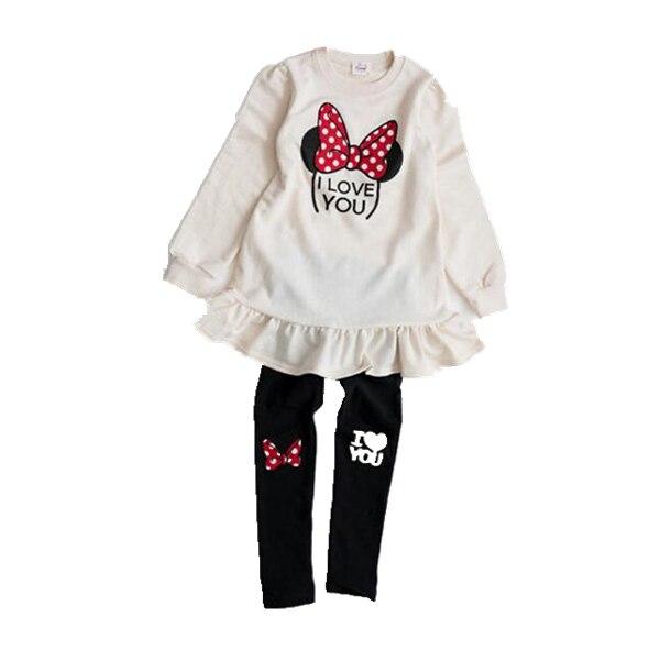 Купить с кэшбэком Anlencool High Quality Fashion Girls Clothing Sets Red Mickey Minnie Hoodies+Skirt 2pcs Autumn Winter Baby New Kids Clothes Set