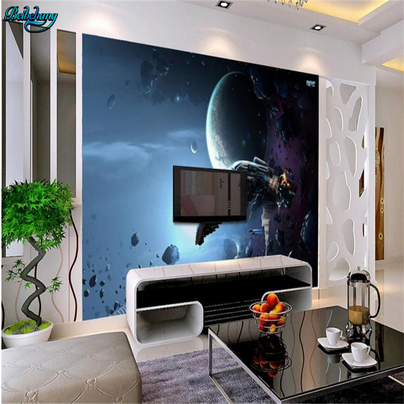 Superior Beibehang Large Custom Wallpaper Science Fiction Space Battleship TV  Background Living Room Bedroom Wall Decorative