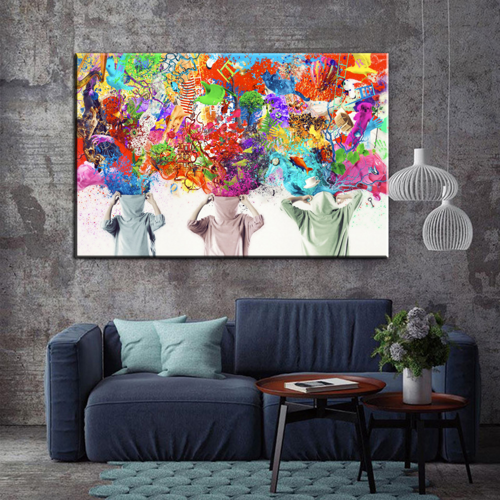 Modern Painting Canvas Basketball Wall Pictures Home Decor: Graffiti Canvas Art Blossomed Flowers Painting Modern Wall