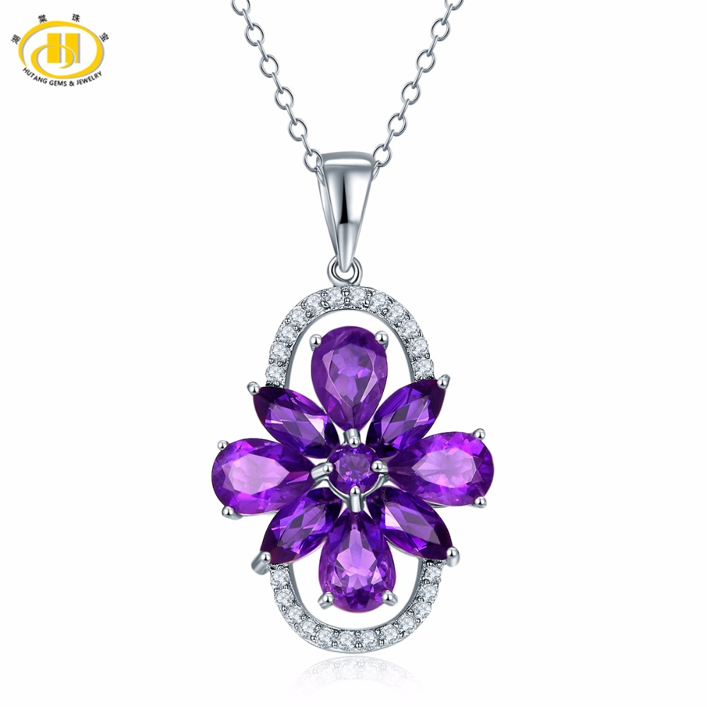 Hutang Pendant Solid 925 Sterling Silver Natural Gemstone African Amethyst Necklace Women's Girls' Fine Crystal Jewelry New